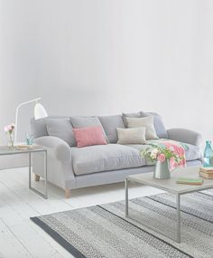 Loaf's comfy grey Crumpet sofa with big feather-filled cushions and colourful scatter cushions in this relaxed living room Living Room Decor Grey Sofa, Living Room Colors, New Living Room, Living Room Designs, Small Living, Sofa Design, Cushions On Sofa, Scatter Cushions, Types Of Sofas