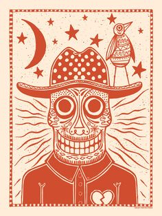 Sugar Skull Cowboy Art Print in Burnt by SubjectMatterStudio, $20.00
