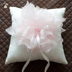 Pale Pink Flower Ring pillow,Wedding Ring bearer pillow,Bridal ring pillow with oversized pink corsage, wedding ring holder, Wedding Ring Cushion, Wedding decor- T13 - Wedding table decor (*Amazon Partner-Link)