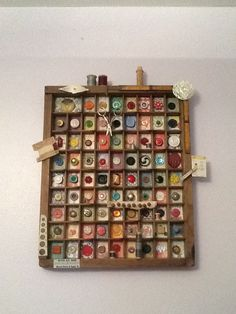 Vintage buttons printer drawer upcycled