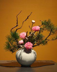 Peonies and maritime pine - Philadelphia Flower Show Ikebana