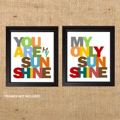 """Nursery Art Prints You Are My Sunshine art 8x10"""" 2 prints, Nursery, toddler, or playroom also works for Adult rooms, living room or anywhere"""