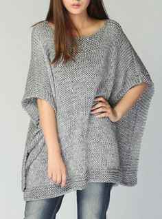Hand knitted Poncho/ capelet grey eco cotton poncho от MaxMelody