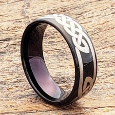Viking black knot carbide celtic rings are designed with symbolic and meaningful knot work. Circle your ring with meaningful thoughts. Irish Wedding Rings, Celtic Wedding Bands, Irish Rings, Celtic Rings, Black Tungsten Rings, Tungsten Wedding Rings, Personalized Rings, Wooden Rings, Black Rings