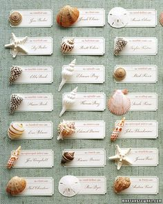 Instead of numbers to assign guests their tables, use names of seashells. Each type of shell represents a different table.
