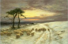 """animales clásicos de arte y paisajes (invierno) Joseph Farquharson © """"ovejas en la nieve"""" (Artista Inglés 1885-1931)"""