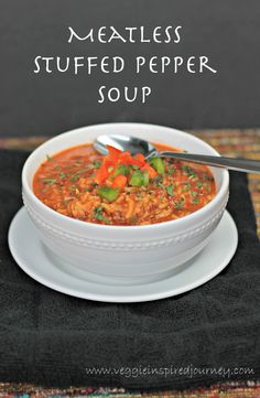 Meatless Stuffed Pepper Soup - has the taste and texture of the real thing!