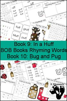Early Reading Printables: BOB Books Rhyming Words Books 9 & 10: -UFF & -UG rhyming words - 3 part cards, cube flashcards, playdough mats, and more - 3Dinosaurs.com