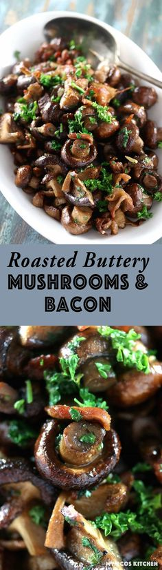 My PCOS Kitchen - Roasted Buttery Mushrooms & Bacon - This appetizer is perfect for any holiday like Thanksgiving or Christmas! Low Carb, Keto, Gluten-free! via @mypcoskitchen