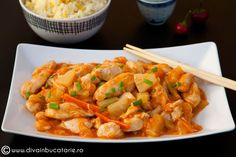 PUI DULCE ACRISOR CU ANANAS | Diva in bucatarie Shrimp, Meat, Dinner, Recipes, Food, Beef, Dining, Meal, Dinners