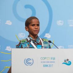"""I want the whole world to know that climate change is real. It's like a thief in the night. It not only steals, but kills and destroys."" Timoci Naulusala, 12, spoke at the UN Climate Conference #COP23 after seeing the destruction caused by Cyclone Winston in his village and school in #Fiji. ""The sea is swallowing villages, eating away at shorelines, withering crops. Relocation of people... cries over lost loved ones, dying of hunger and thirst. It's catastrophic. It's sad, but its real.""…"