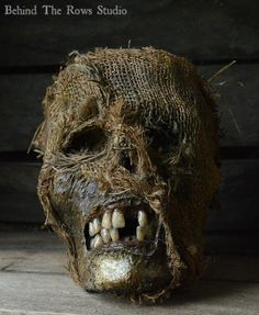 Truly Terrifying Scarecrow Corpse Head Halloween Prop for sale by Behind the Rows Studios at MoreThanHorror.com
