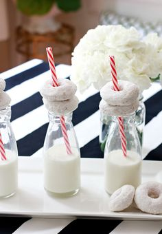 Vintage Milk Bottles and Donuts are a fun way to share a treat. Found these @HomeGoods and the best part is that they come with these cute plastic straws which stand up well to liquids. #sponsored #homegoodshappy #happybydesign