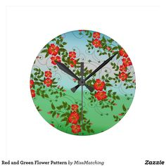 Red and Green Flower Pattern Round Clock
