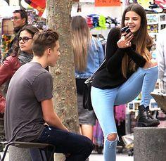 Brooklyn Beckham with girlfriend Sonia Ben Ammar...
