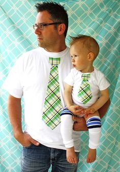 Dad and son matching tie shirt