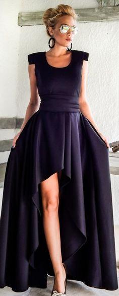 Short front long back shoulder pad dress