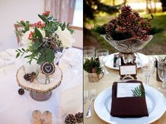 The one on the right. Not crystal, but bowls of pinecones with berries stuck in them could be simple and beautiful.