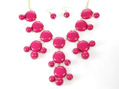 27mm Hot Pink Bubble Necklace Gold Plate Chain The Pink Store, Bubble Necklaces, Pink Bubbles, Every Girl, Hot Pink, Gold Necklace, Plate, Chain, Earrings
