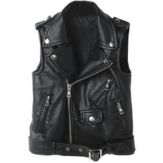 YoungSoul Women's Faux Leather Sleeveless Jackets Motorcycle Biker... ($39) ❤ liked on Polyvore featuring outerwear, vests, biker vests, faux-leather vests, motorcycle vest, sleeveless vest and fake leather vest