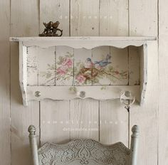 Shabby Chic Vintage Style Bluebird and Roses Shelf with Crystal Knobs - Debi…