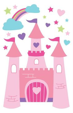 Fairy Princess Castle Wall Stickers by Forwalls Castle Mural, Castle Wall, Disney Princess Castle, Princess Theme, Wall Stickers Princess, Castle Clipart, Castle Cartoon, Castle Illustration, Cardboard Box Crafts