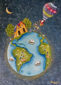 Ana Maria Nale. Pintura naif e infantil. Cuadros originales y laminas. Illustration Noel, Naive Art, Whimsical Art, Nursery Art, Cute Wallpapers, Cute Art, Art Images, Creative Art, Watercolor Art