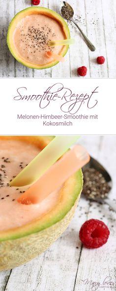 Melonen-Himbeer-Smoothie mit Kokosmilch - veganer Smoothie mit Melone und Himbeere - Chia Smoothie - Superfood Rezept