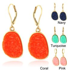 @Overstock - Beautifully designed goldtone dangle earrings with vibrant colored druzy stones. The druzy stones are surrounded by a goldtone finish which highlights the colors. Available in navy blue, coral pink and turquoise.   http://www.overstock.com/Jewelry-Watches/Goldtone-Druzy-Earrings/7213720/product.html?CID=214117 $11.99