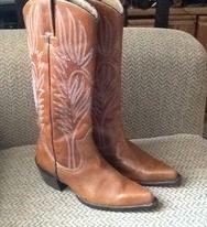 STEVE MADDEN LONESTAR BROWN LEATHER COWBOY BOOTS sz 7, EXCELLENT! front view