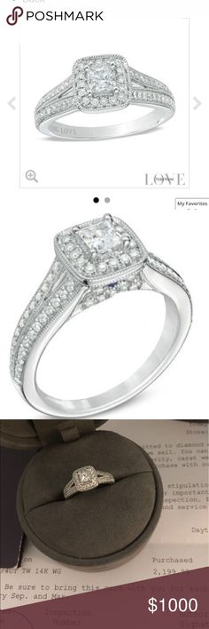 Vera Wang Love Collection 3/4 CT AUTHENTIC, Vera Wang Love Collection 3/4 CT. T.W. Princess-Cut Diamond Vintage-Style Engagement Ring in 14K White Gold. IN EXCELLENT CONDITIONS, NEVER USED. With papers of authenticity and receipt. Vera Wang Jewelry Rings