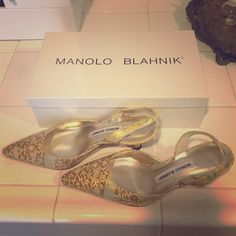 """BNWT Manolo Blahnik Kitten Heel Slingback Shoes BNWT Manolo Blahnik kitten heel Slingback shoes. Heel measures about 2"""". Never worn. Bought at Neiman Marcus. Leather with gold, pale yellow and pale pink designs.  Comes with original box. Manolo Blahnik Shoes Heels #manoloblahnikyellow #manoloblahnikslingback #manoloblahnikheelsneimanmarcus Kitten Heel Slingback Shoes, Kitten Heels, Shoes Heels, Flats, White Pumps, Nude Pumps, Manolo Blahnik Heels, Neiman Marcus, Character Shoes"""