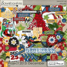 Digital Scrapbook Kit, Project 2013 - December by Connie Prince