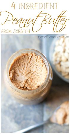 Only 4 ingredients gets you this all natural, homemade, from scratch Peanut Butter!