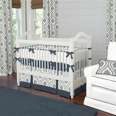 Raindrops fabric to show the curtains. Have light green walls and would do either navy (boy) or aqua (girl) accents.  Gray and Navy Raindrops Crib Bedding | Carousel Designs