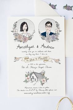 A one page vintage wedding invitation with pastel colors.