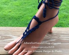 Navy blue barefoot sandals wedding shoes beach foot jewelry wedding sandal with mini silver rose wedding flowers anklet bridesmaid gift Foot Jewelry Wedding, Beach Foot Jewelry, Beach Wedding Shoes, Barefoot Sandals Wedding, Crochet Barefoot Sandals, Beach Feet, Rose Wedding, Wedding Flowers, Rainbow Shoes