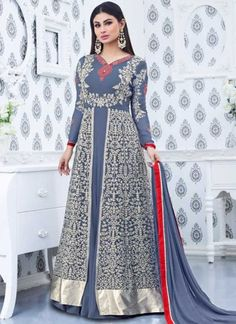 Grey Embroidery Work Georgette Designer Bollywood Long Anarkali Gown Suit http://www.angelnx.com/Bollywood