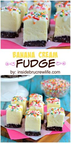 Could You Eat Pizza With Sort Two Diabetic Issues? Banana Cream Fudge - Easy Banana Fudge With Chocolate Cookie Crust And Sprinkles For A Fun Flair Fudge Recipes, Candy Recipes, Sweet Recipes, Baking Recipes, Cookie Recipes, Dessert Recipes, Dessert Tray, Homemade Fudge, Homemade Candies