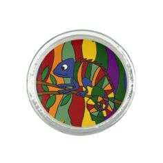 Awesome Chameleon Art Abstract Ring #chameleons #art #rings #jewelry And www.zazzle.com/inspirationrocks*
