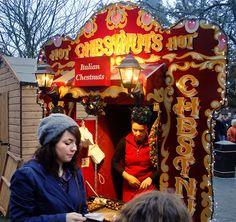 Roast Chestnut Stall at Winchester Christmas Market, England,UK by Beardy Vulcan, via Flickr