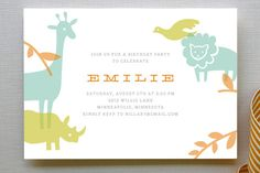 Zoo Menagerie Children's Birthday Party Invitations from Minted - cute colors, too.  See matching thank you cards, party decorations and more.