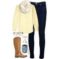 Cute outfit. Friday Favorites:The Diary of a Real Housewife #style #preppy #boots yellow polo Oxford, riding boots, scarf