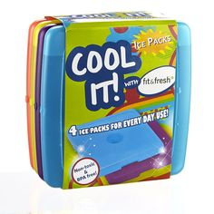Fit and Fresh Cool Coolers Slim Lunch Ice Packs, Multicolored - Set of 4 * Be sure to check out this awesome product.