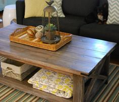 DIY Coffee Table - there's also a matching console table - will go great in the family room or rec room.