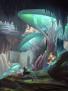 """Izkal Caverns"" fantasy illustration by James Combridge"