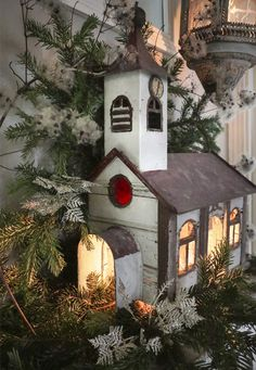 Christmas styling at Josephine Ryan Antiques Christmas Bird, Christmas Mantels, Retro Christmas, Christmas Home, Outdoor Christmas Decorations, Holiday Decor, Decorative Bird Houses, Christmas Villages, Christmas Fashion