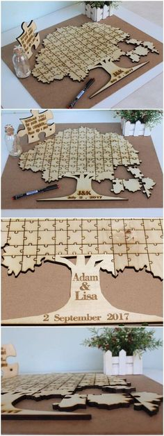 This rustic puzzle piece alternative wedding guestbook is gorgeous! I love this idea!