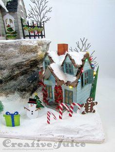 Lisa Hoel, guest post for the Frilly & Funkie Challenge Blog – Tim Holtz Christmas Village Dwellings lantern scene