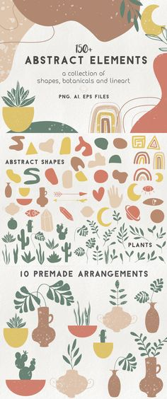 150 modern abstract design elements - floral illustrations, geometric clipart, terracotta branding - New Ideas Design Poster, Graphic Design, Logo Design, Pattern Art, Pattern Design, Creative Market, Design Bauhaus, Abstract Shapes, Abstract Designs